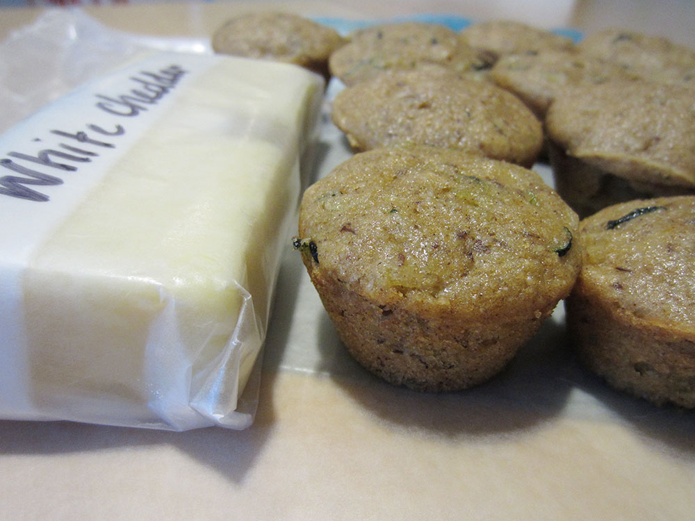 preschool snack: cheddar cheese and zucchini pineapple muffins