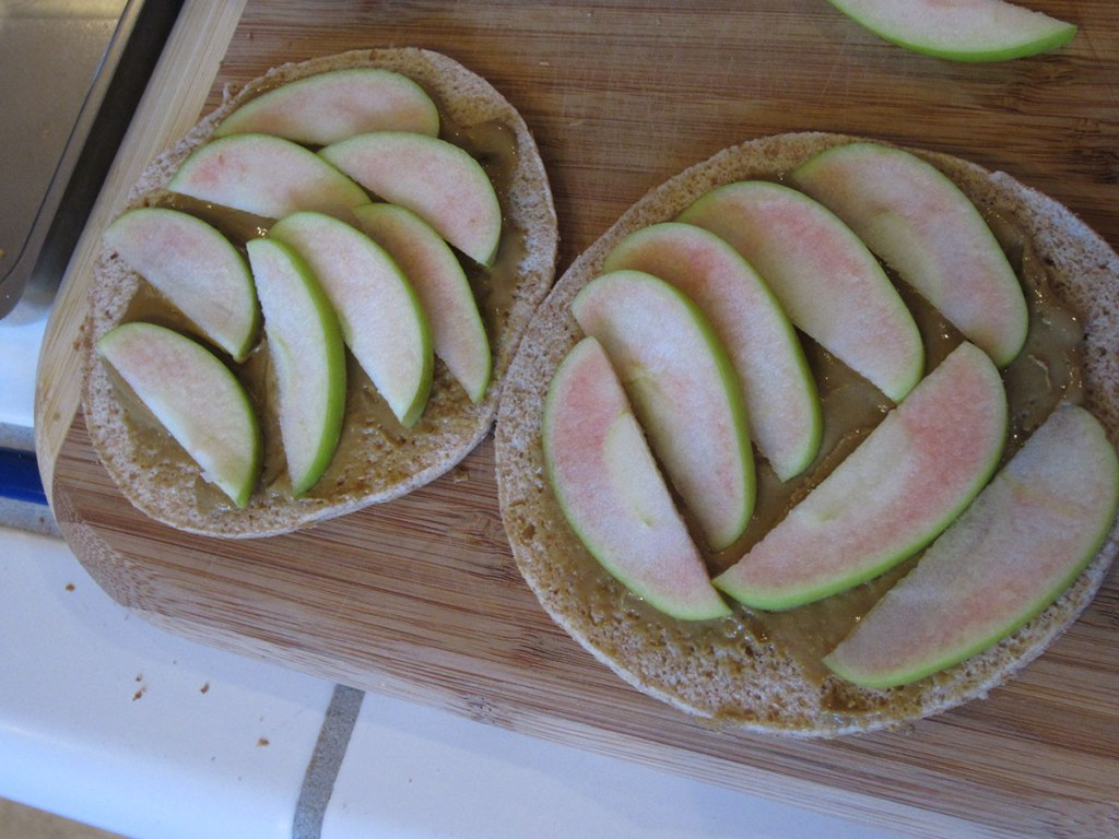 apple slices on sunflower seed butter on skinny bread