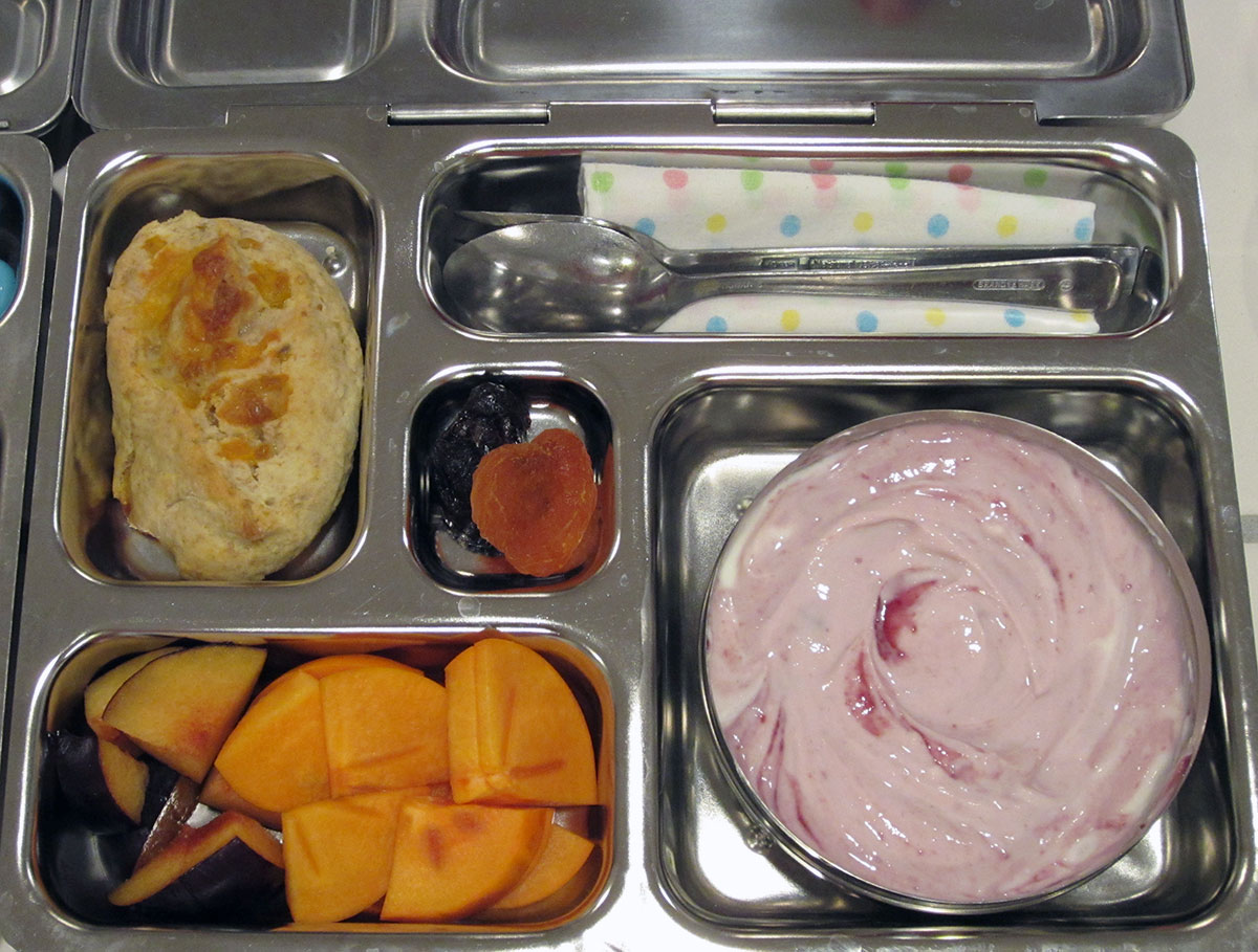 lunch on 15 November 2012: blackberry yogurt and cheesy biscuit
