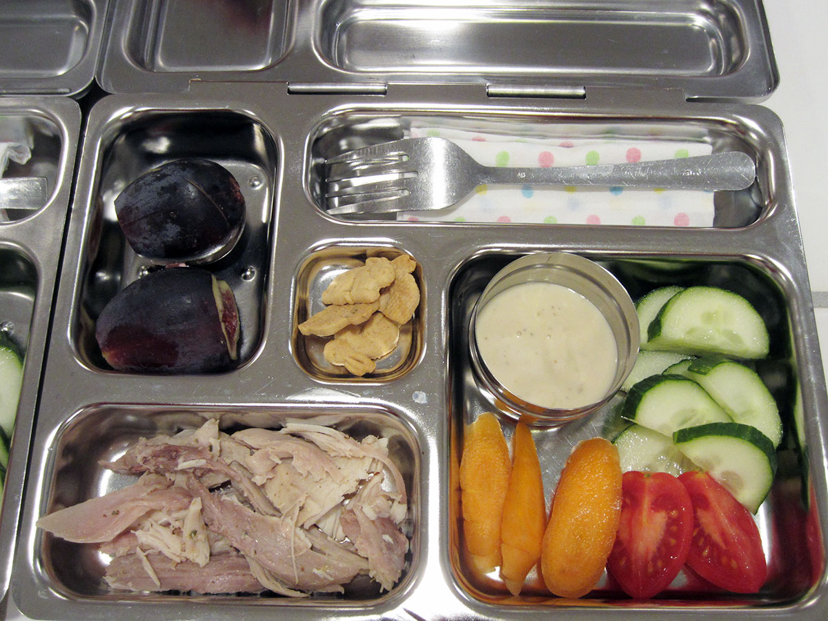 lunch on 27 November 2012: turkey with veggies and ranch