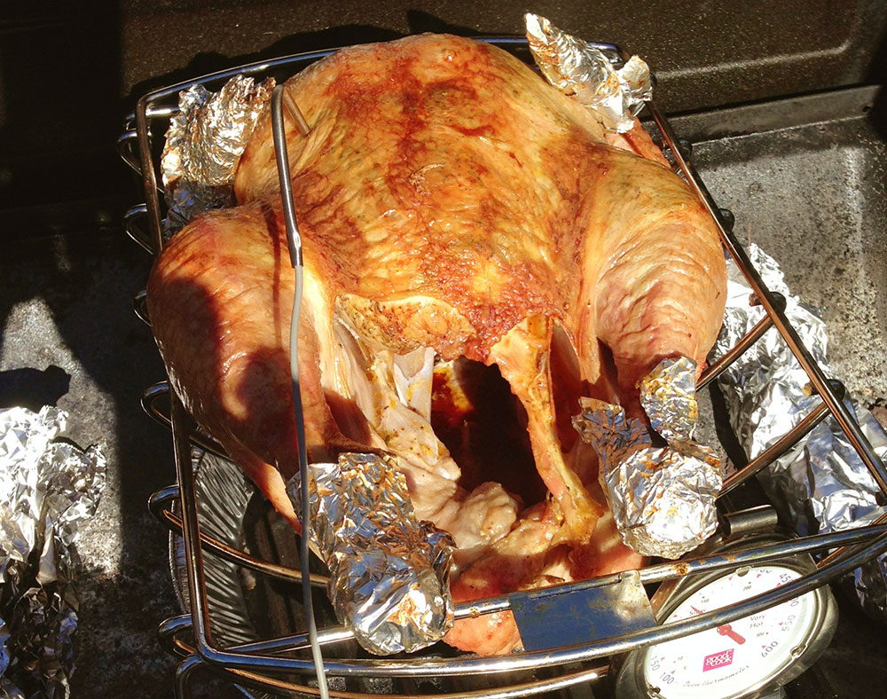 turkey on the grill: almost done