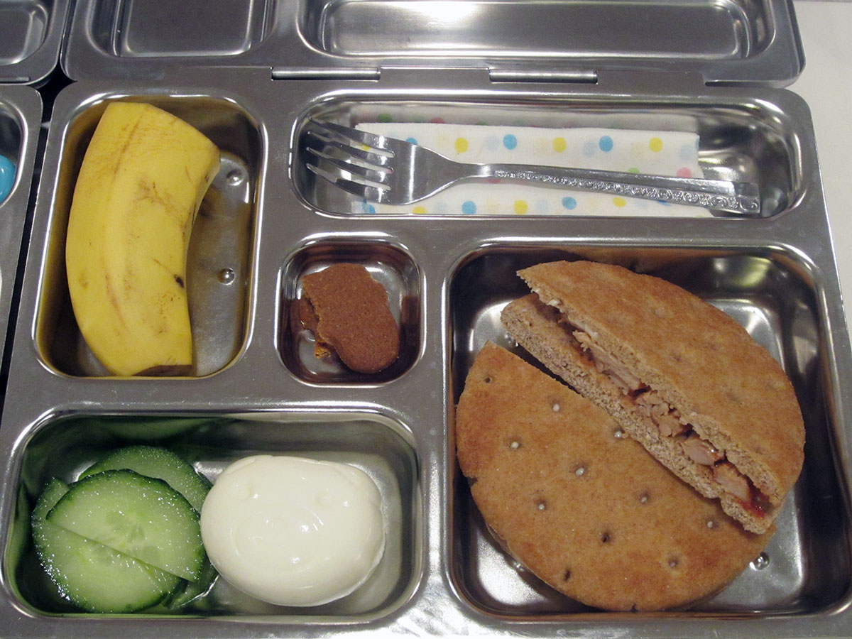 lunch on 13 December 2012: bbq chicken sandwich with bento egg
