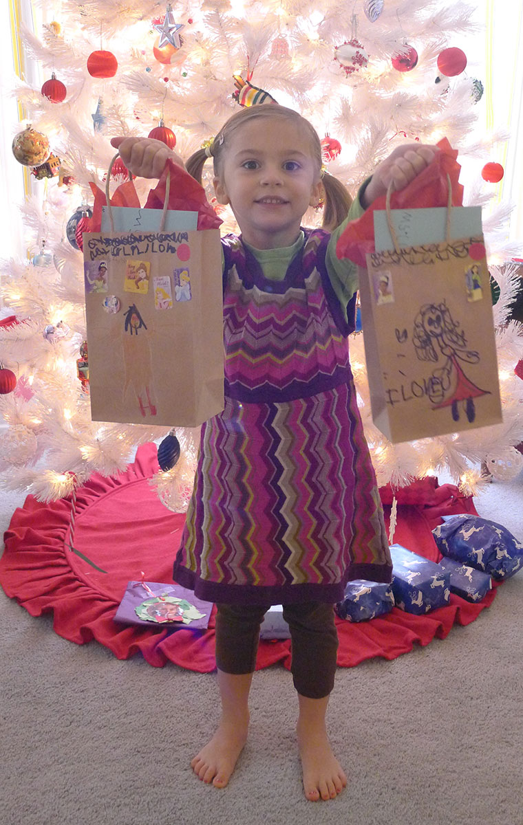 Liliana with her teacher gifts ready for delivery