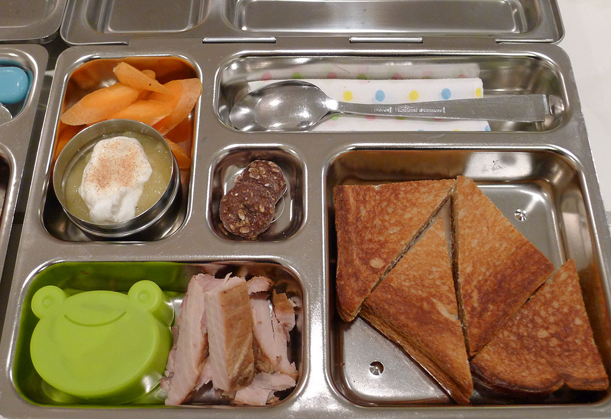 lunch on 24 January 2013: grilled cheese, smoked fish, dill pickles, carrots and applesauce