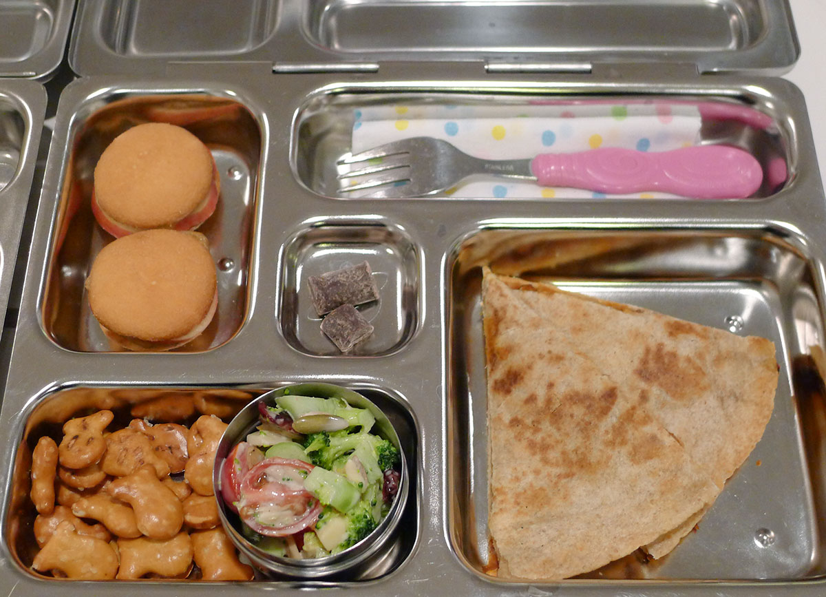 lunch on 31 January 2013: chicken quesadilla, nilla wafer sandwiches and broccoli salad