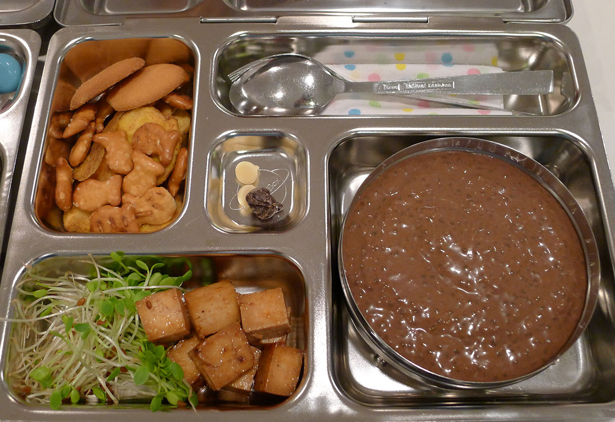lunch on 1 February 2013: banana carob chia pudding, baked tofu and sprouts