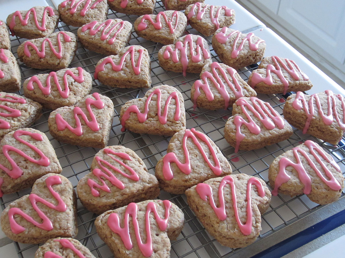 heart-shaped strawberry orange scones (a double batch)