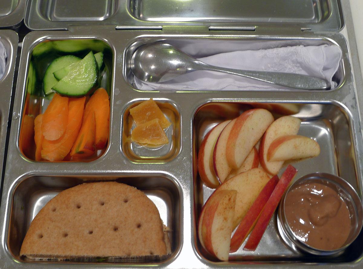 lunch on 19 March 2013: salmon tuna salad sandwich with cinnamon apples and yogurt dip
