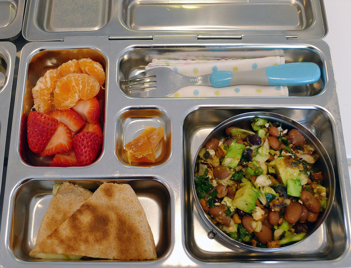 lunch on 21 March 2013: taco salad, quesadillas, and fruit