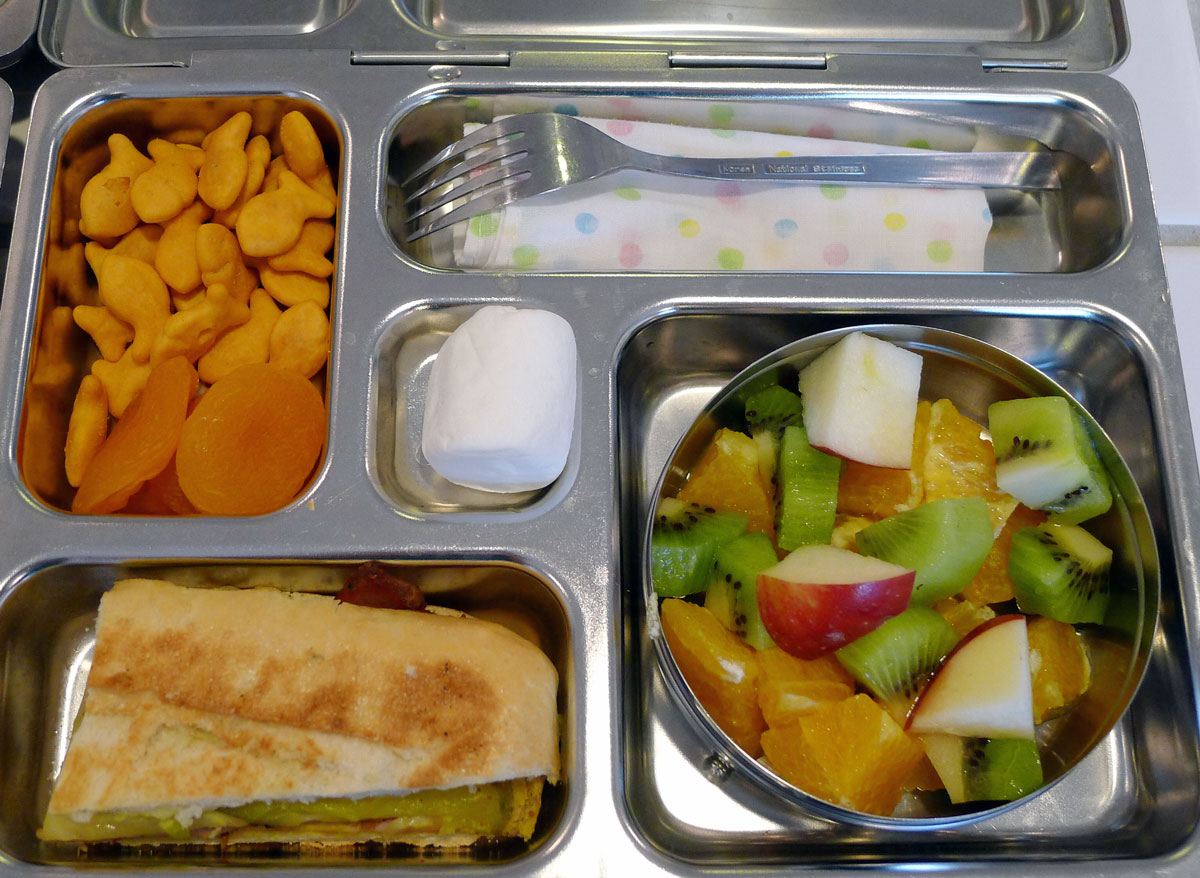 lunch on 30 April 2013: Cubano sandwich with Goldfish, dried apricots and fruit salad