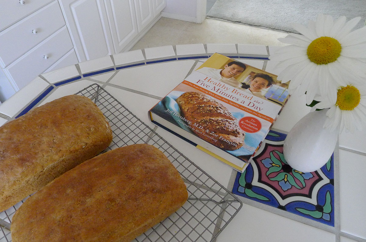 two fresh loaves of whole grain bread, recipe from Healthy Bread in Five Minutes a Day