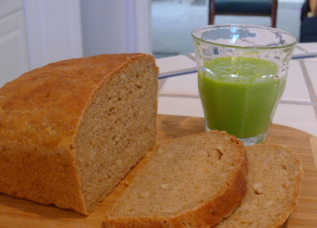 preschool snack: whole grain bread with creamy citrus spinach smoothie