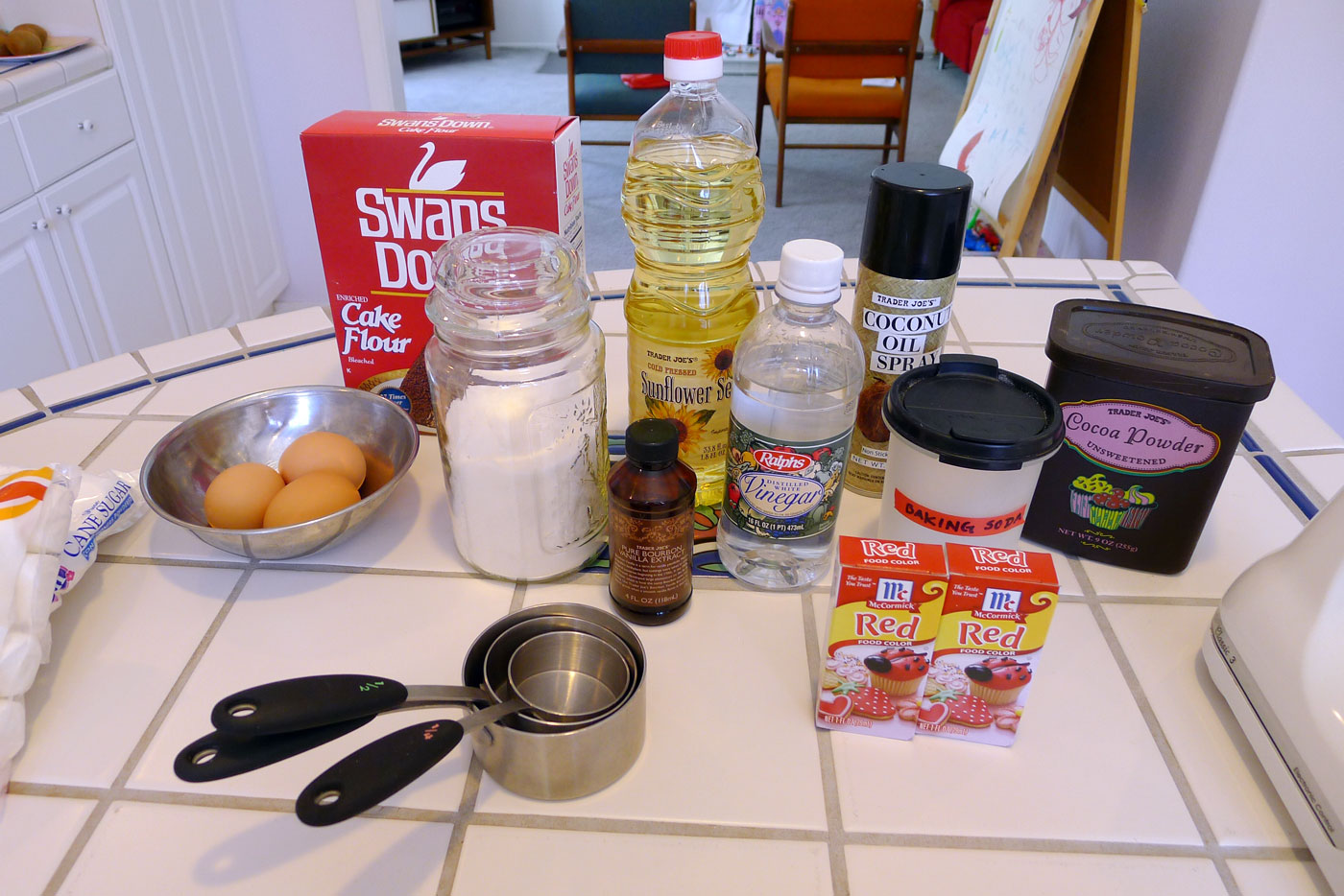 red velvet cake ingredients assembled