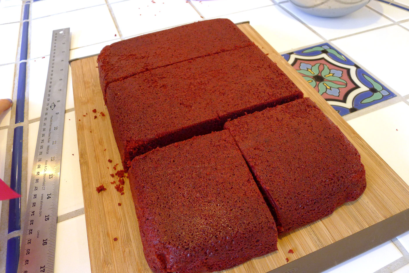 the cake (completely cooled) is cut into bricks