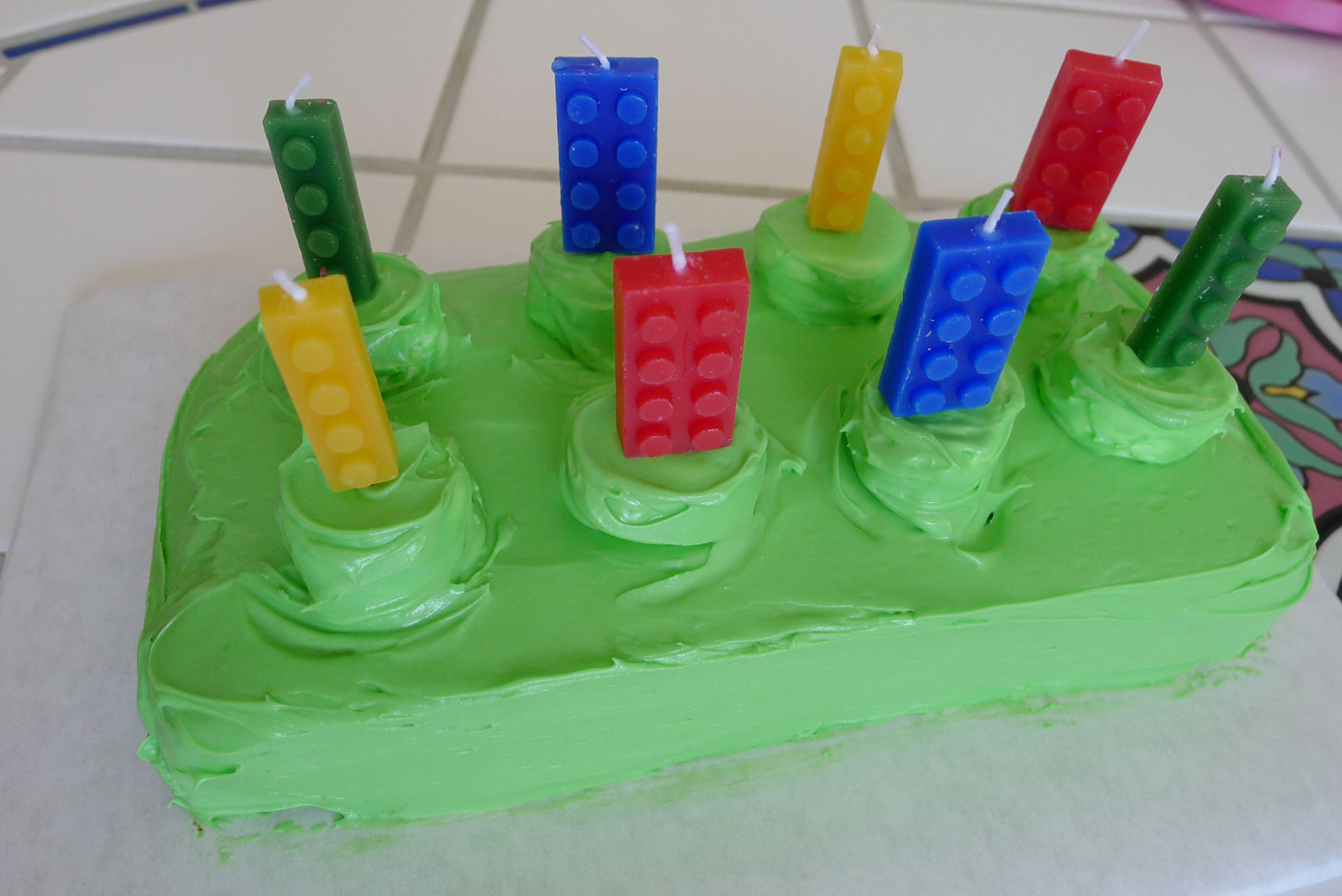 LEGO candles are added to LEGO cake