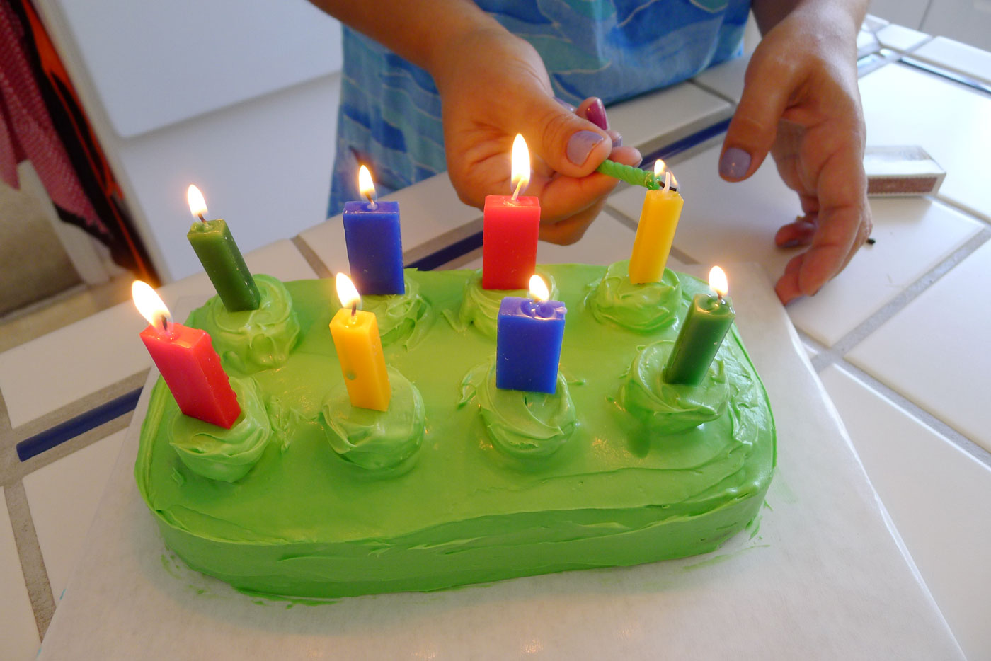 LEGO Candles Are Added To Cake The Lit