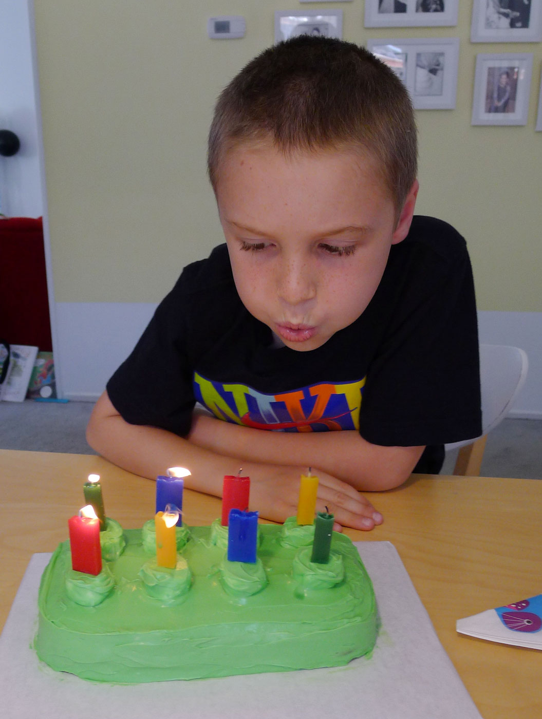 the birthday boy makes a wish and blows out the candles