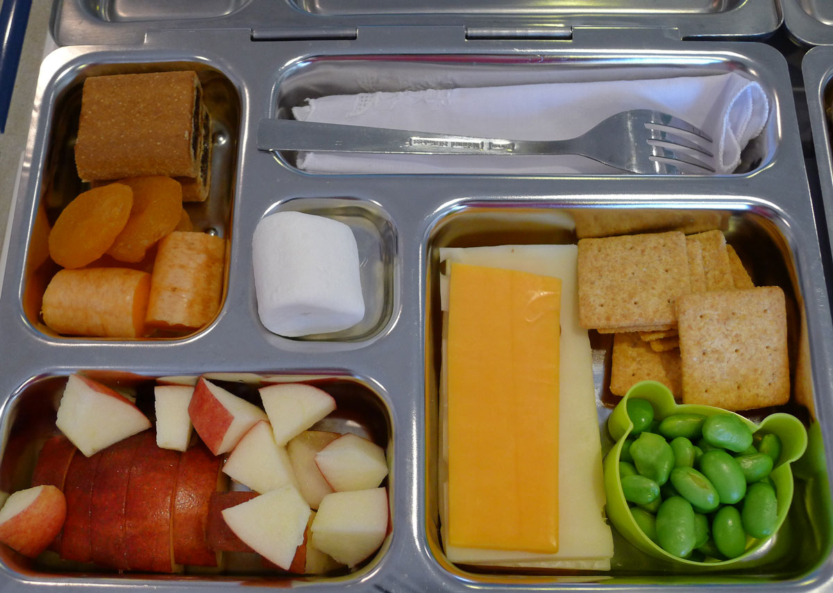 lunch on 1 May 2013: snacky lunch with cheese, crackers, Fig Newmans, edamame, etc.