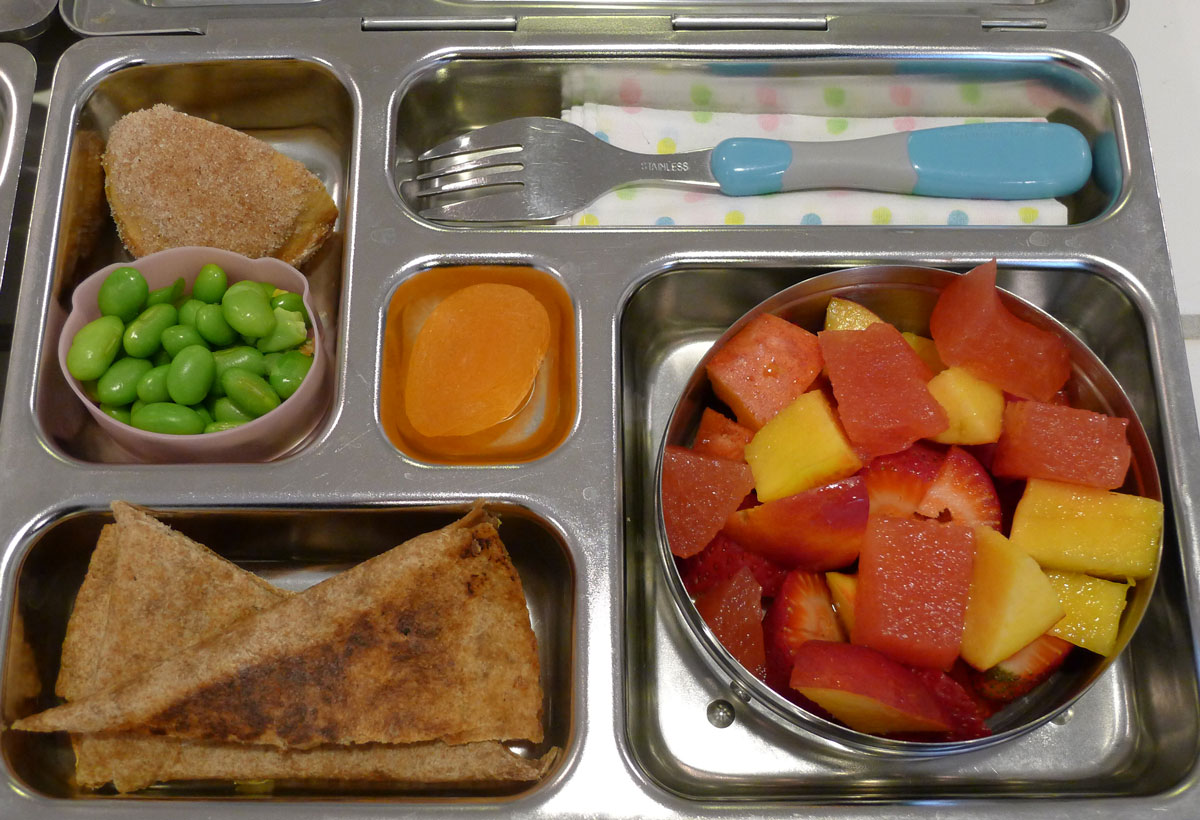 lunch on 6 May 2013: quesadillas with fruit salad, edamame and half a donut muffin