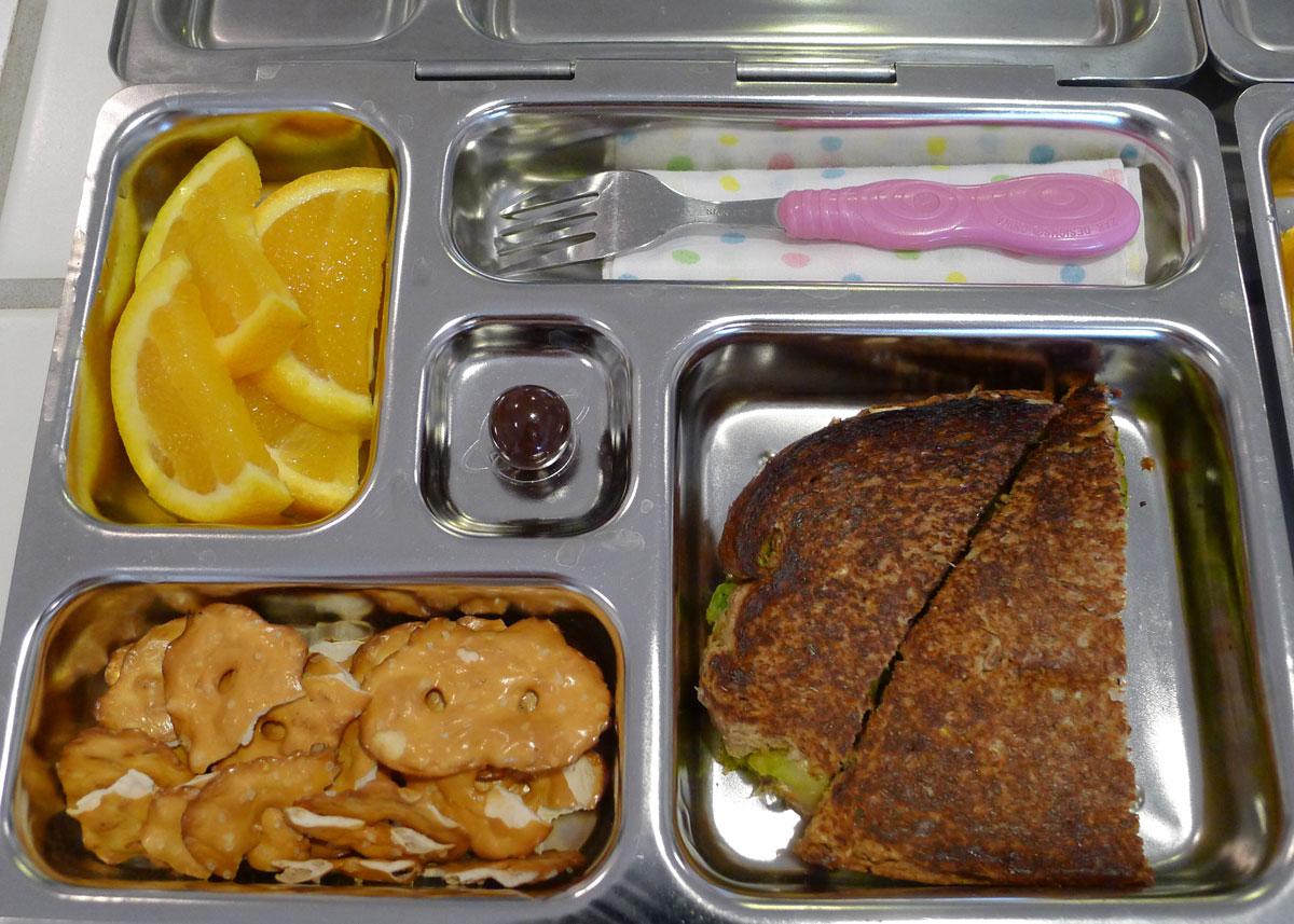 lunch on 9 May 2013: veggie burger panini, pretzel slims and orange slices
