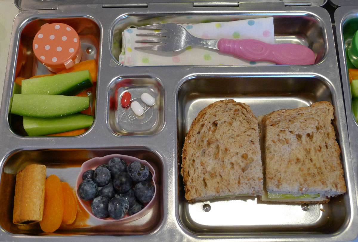 lunch on 20 May 2013: turkey, cheese and pickle sandwich with fruit and veggies