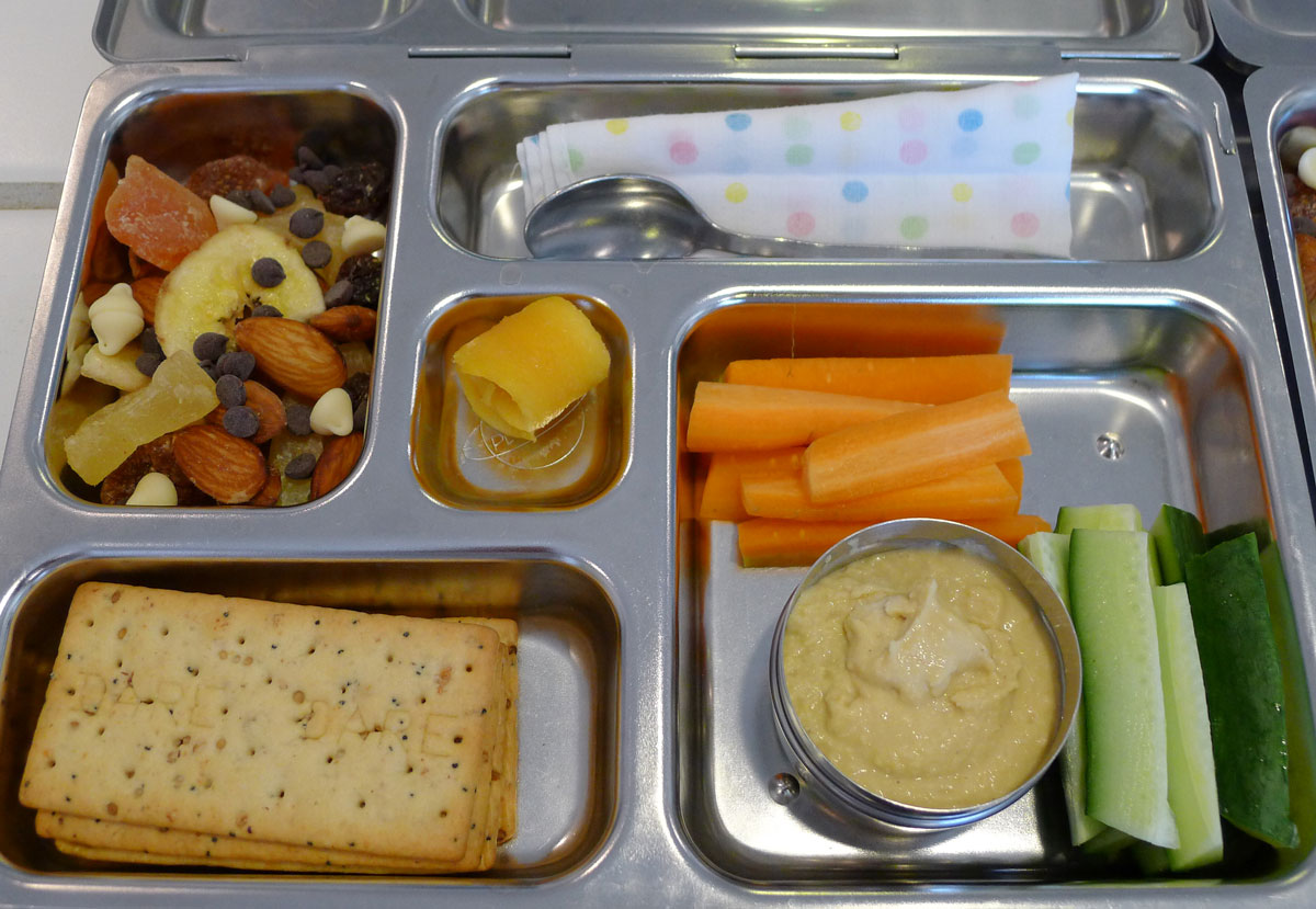 lunch on 23 May 2013: hummus plate and tropical trail mix snacky lunch