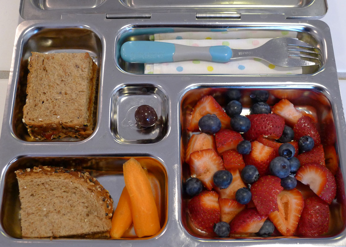 Lily's lunch on 29 May 2013: sunflower seed and lingonberry jam sandwich, carrots, strawberries and blueberries