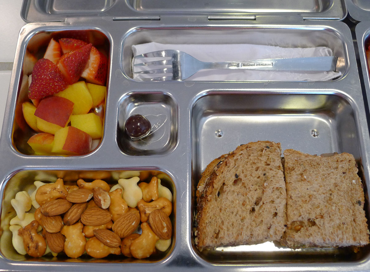lunch on the last Friday of the school year: tuna salad sandwich, Goldfish trail mix and fruit