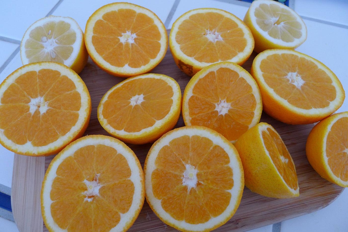 oranges and one meyer lemon