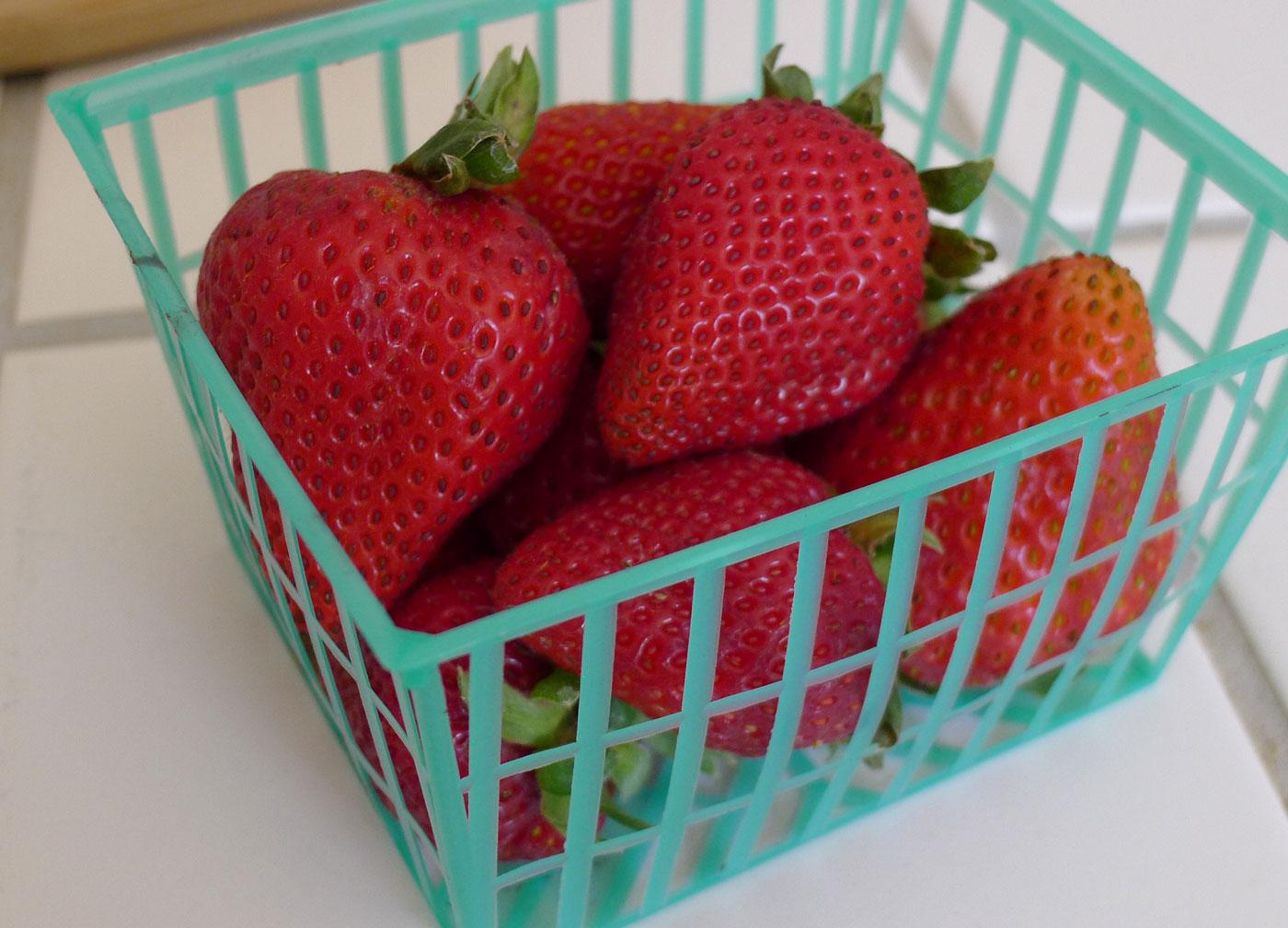 strawberries from the San Luis Obispo farmers market