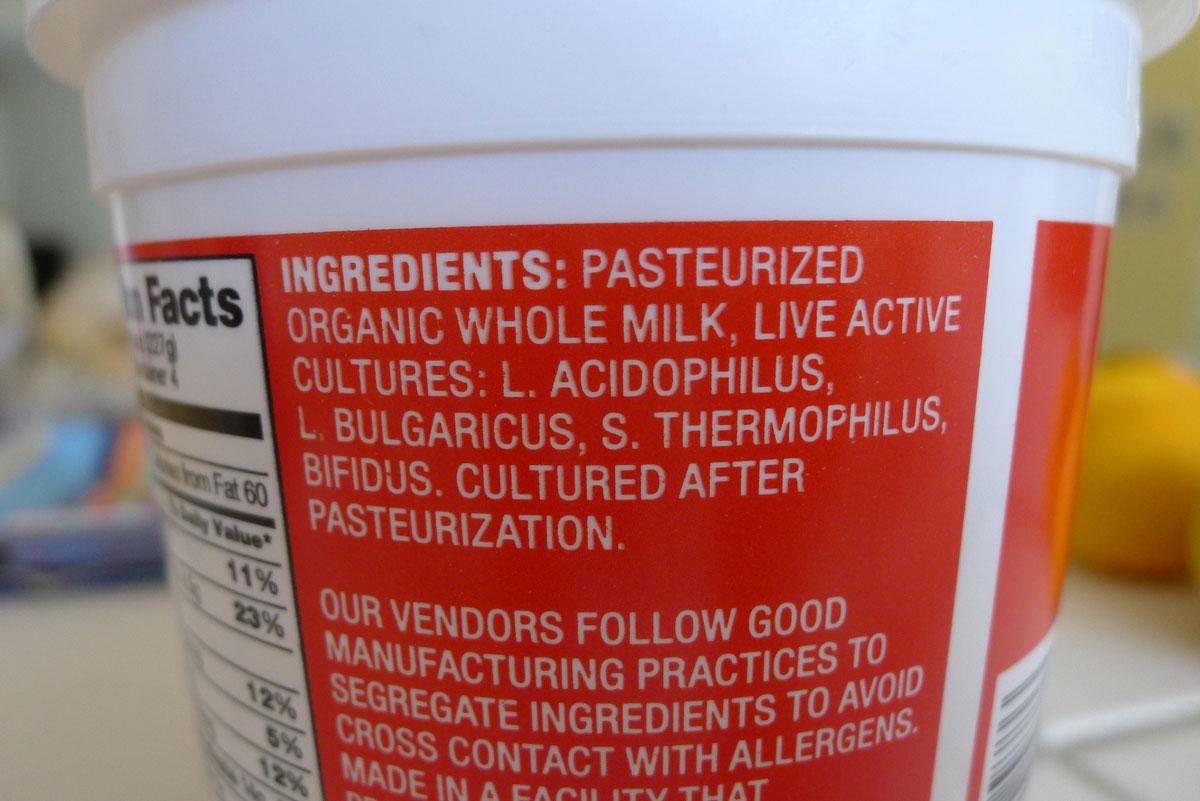 Trader Joe's Organic Plain Whole Milk Yogurt ingredients