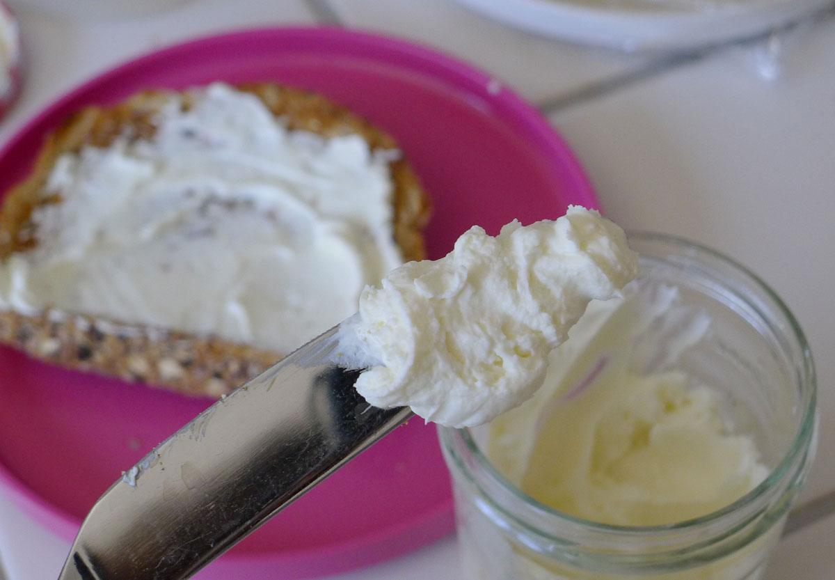 mmm, yogurt cheese on toast