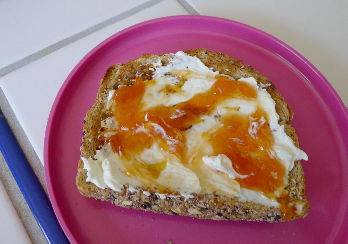 """toast with yogurt cheese and """"Jeffery's Jam"""""""