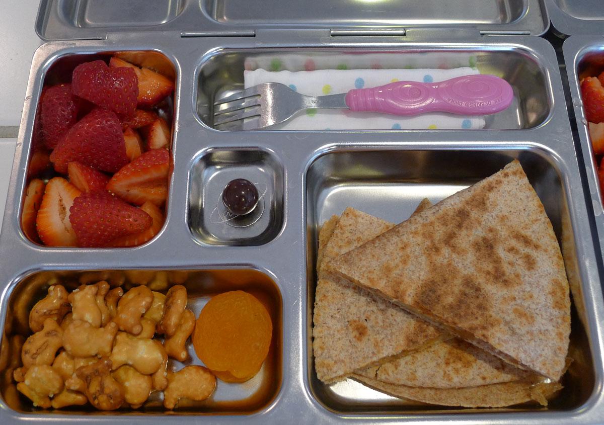 lunch on 4 June 2013: potato quesadilla, pretzel fish and fruit