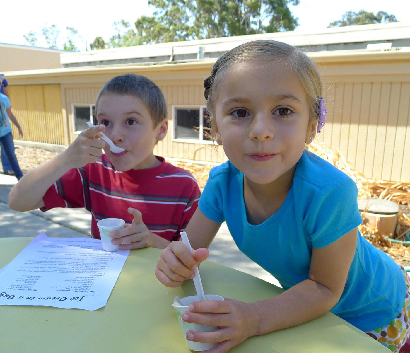 Iain and Liliana enjoying some fresh ice cream made the old school way: with ice and salt