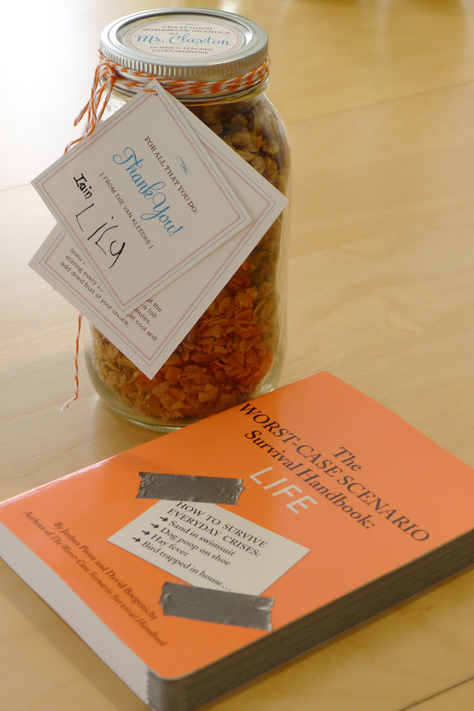 gift for an awesome teacher: Homemade Crazy Good Granola and The Worst Case Scenario Survival Handbook: LIFE